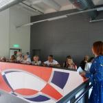 Ārzemju delegācijas Kandavas internātvidusskolas izremontētajā sporta zālē