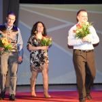 Mākslinieki, kuri izveidoja konkursa galveno balvu- no kreisās: Jurģis Ābele, Baiba Rulle, Jurģis Muska